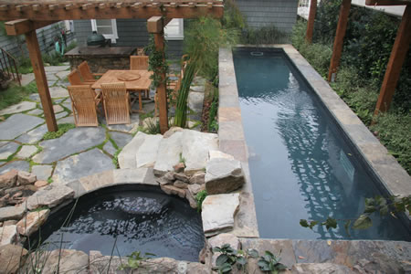 Hermosa Beach Lap Pool with Spa    Rock Features Custom Tile 1