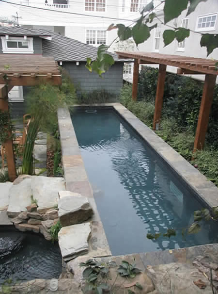 Hermosa Beach Lap Pool with Spa Rock Features Custom Tile 5