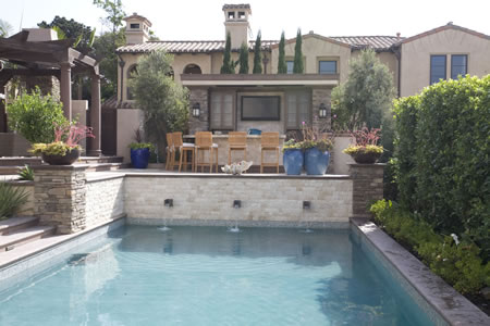 Manhattan Beach Pool with Water Feature Outdoor Kitchen &    Patio 1