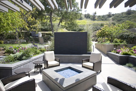 Palos Verdes Estates Outdoor Living Area Custom Water Feature    & Firepit 5
