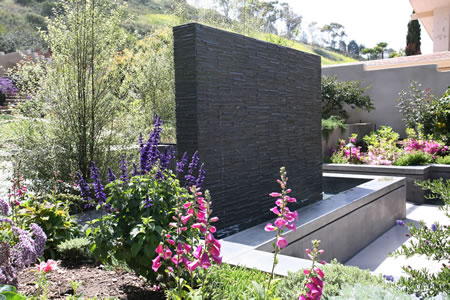 Palos Verdes Estates Outdoor Living Area Custom Water Feature    & Firepit