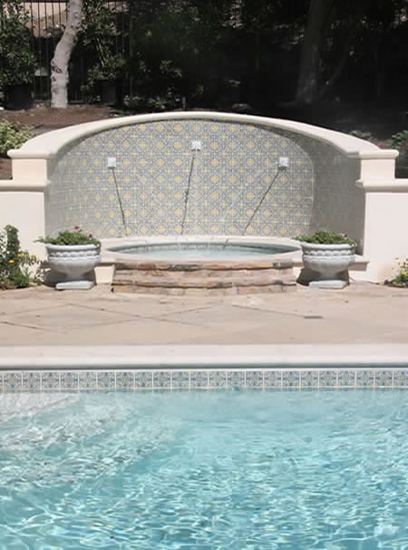 Palos Verdes Estates Pool Water Fountian Outdoor Fireplace 2