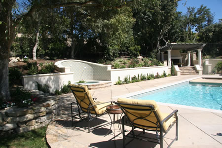 Palos Verdes Estates Pool Water Fountian Outdoor Fireplace 3