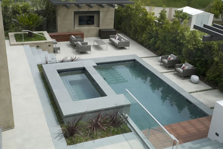 Redondo Beach Pool with Elevated Spa Custom Water Wall 1